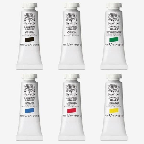Winsor & Newton Designers Gouache 14 ml Tubes Primary Set of 6